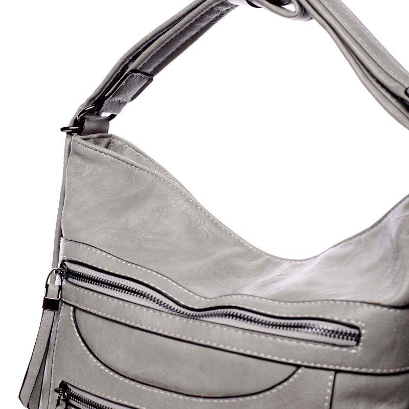 Velká pohodlná koženková kabelka Samantha šedá