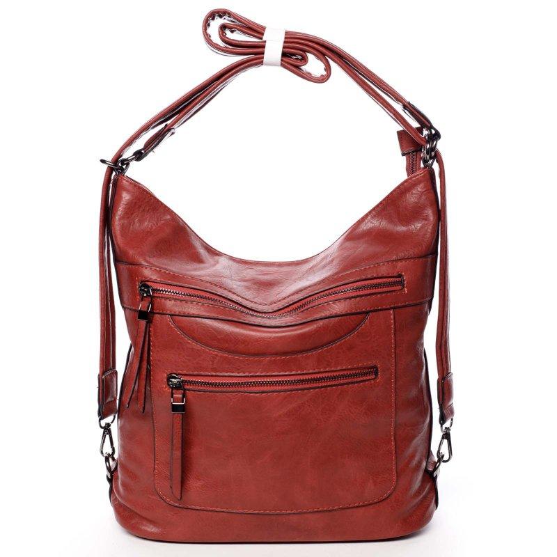 Velká pohodlná koženková kabelka Samantha červená