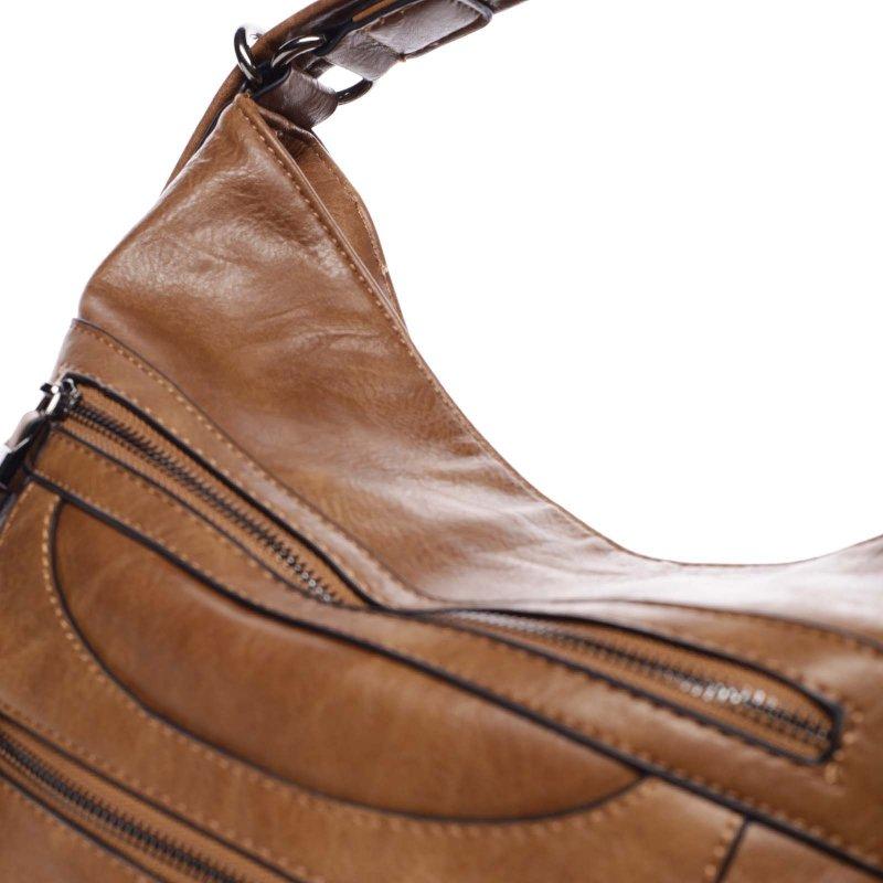 Velká pohodlná koženková kabelka Samantha hnědá