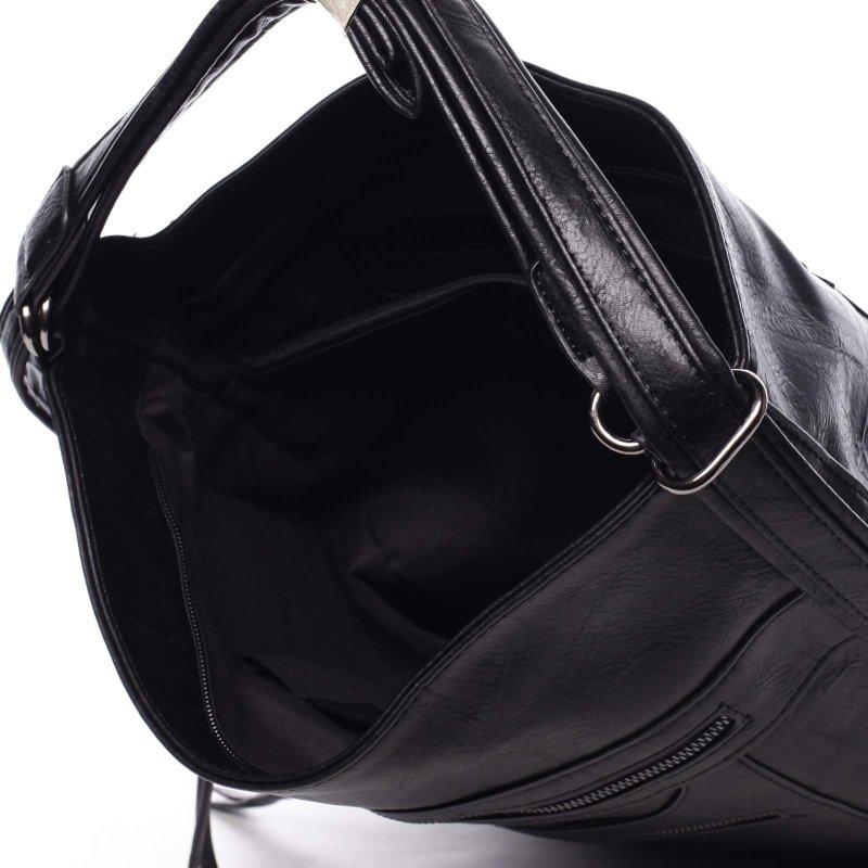 Velká pohodlná koženková kabelka Samantha černá