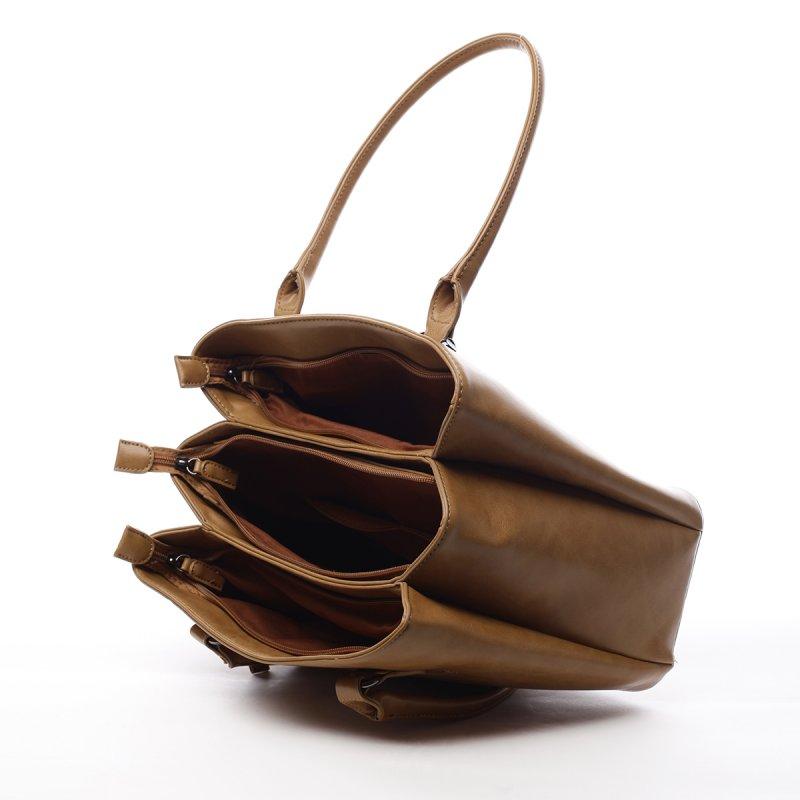 Dámská koženková prostorná kabelka Lily světle hnědá