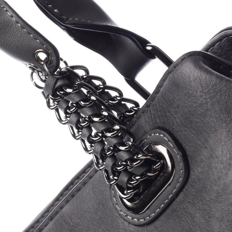 Módní dámská koženková taška Stacey šedá