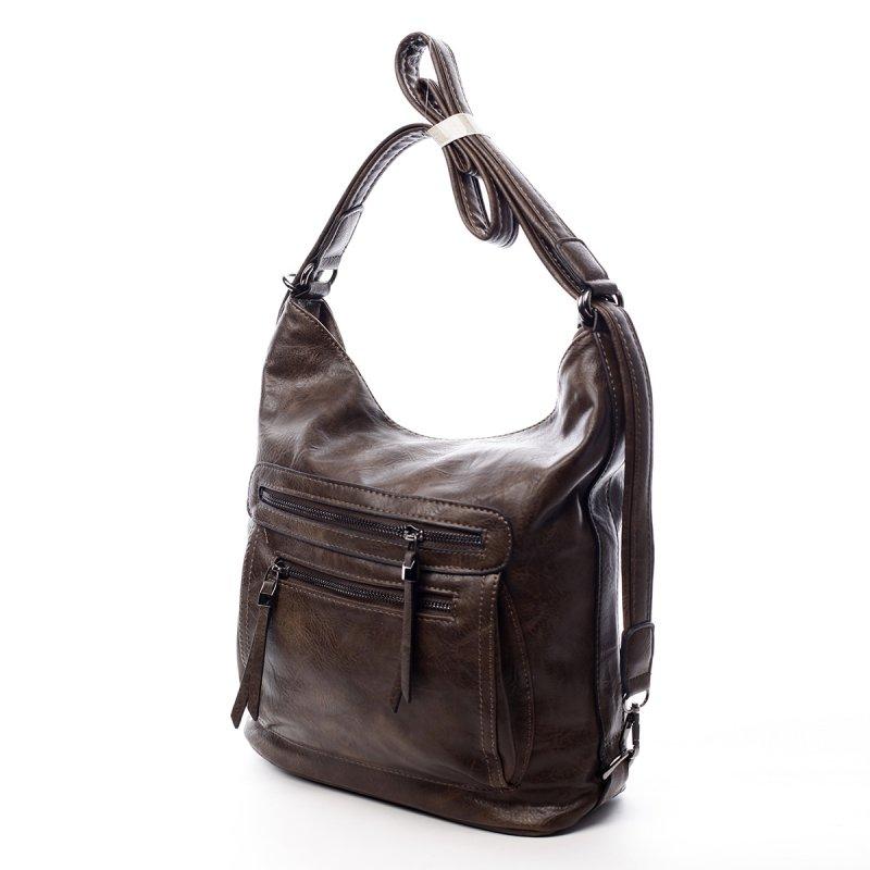 Dámská praktická koženková kabelka/batoh Milie hnědá