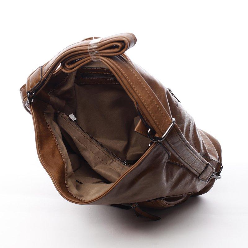Dámská praktická koženková kabelka/batoh Milie koňaková