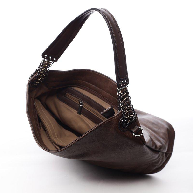 Módní dámská koženková kabelka Sasha hnědá