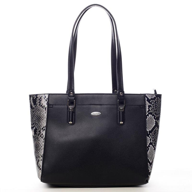 Prostorná dámská koženková kabelka Abi  černá