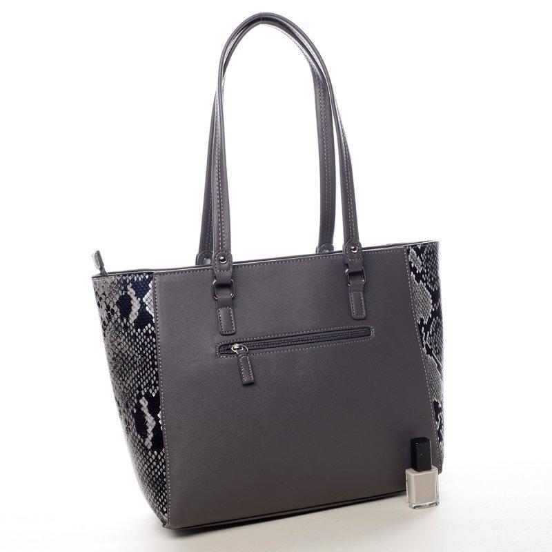 Prostorná dámská koženková kabelka Abi  šedá