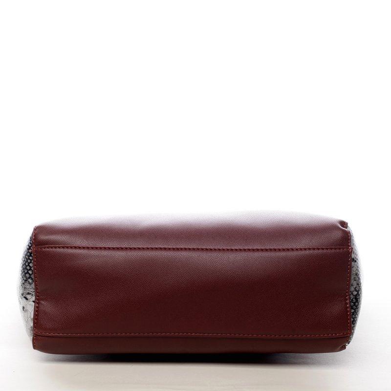 Prostorná dámská koženková kabelka Abi vínová