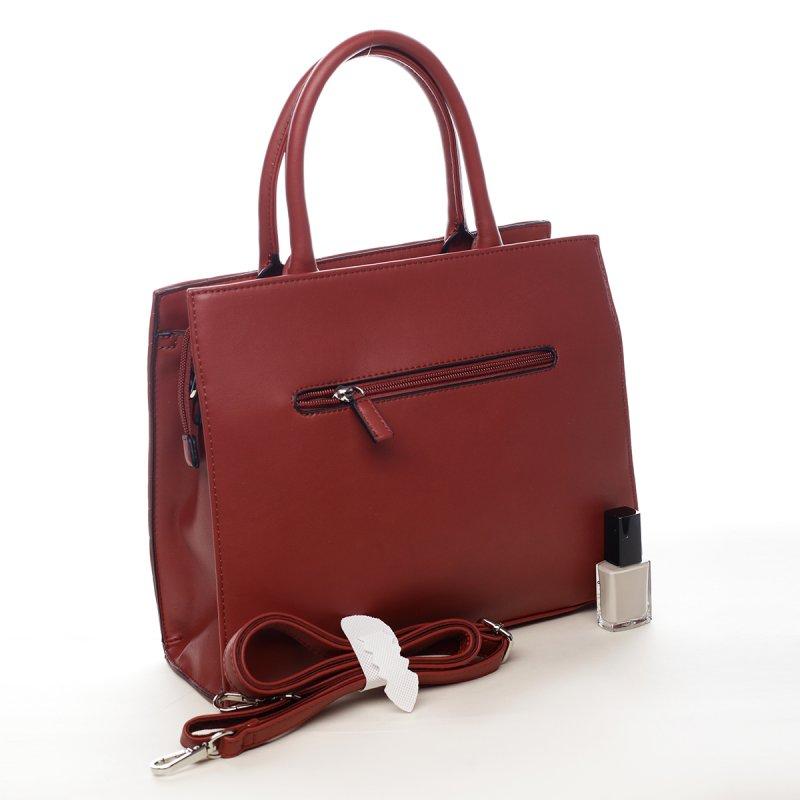 Luxusní dámská koženková kabelka Whitney červená