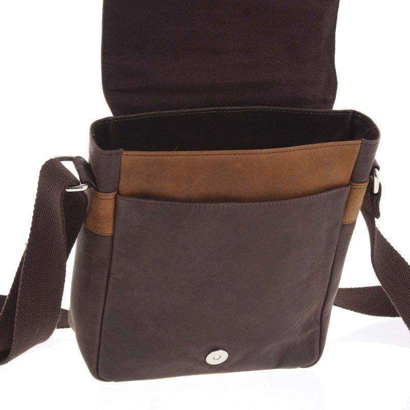 Krásná kombinovaná pánská kožená taška William hnědá