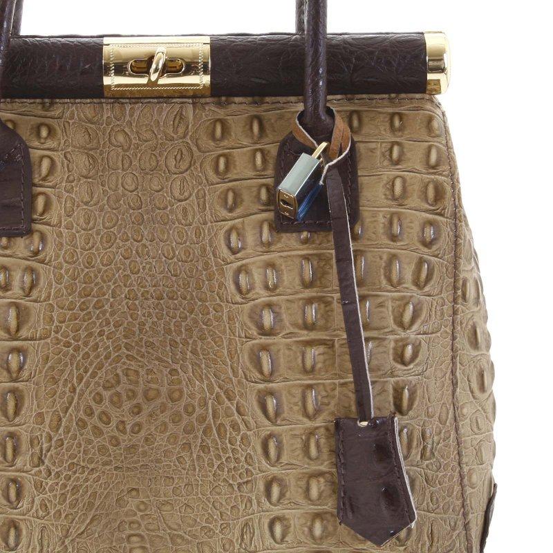 Luxusní dámská kožená kabelka Zina světle hnědá, aligátor