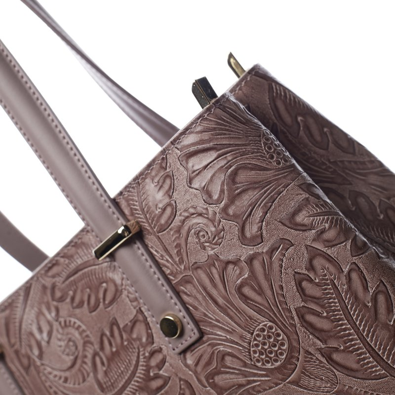 Módní kožená kabelka se vzory Tatum, tmavě růžová