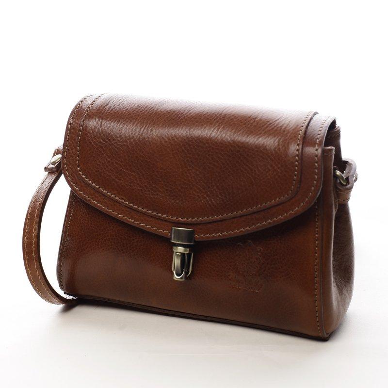 Malá dámská kožená kabelka Milady, koňaková