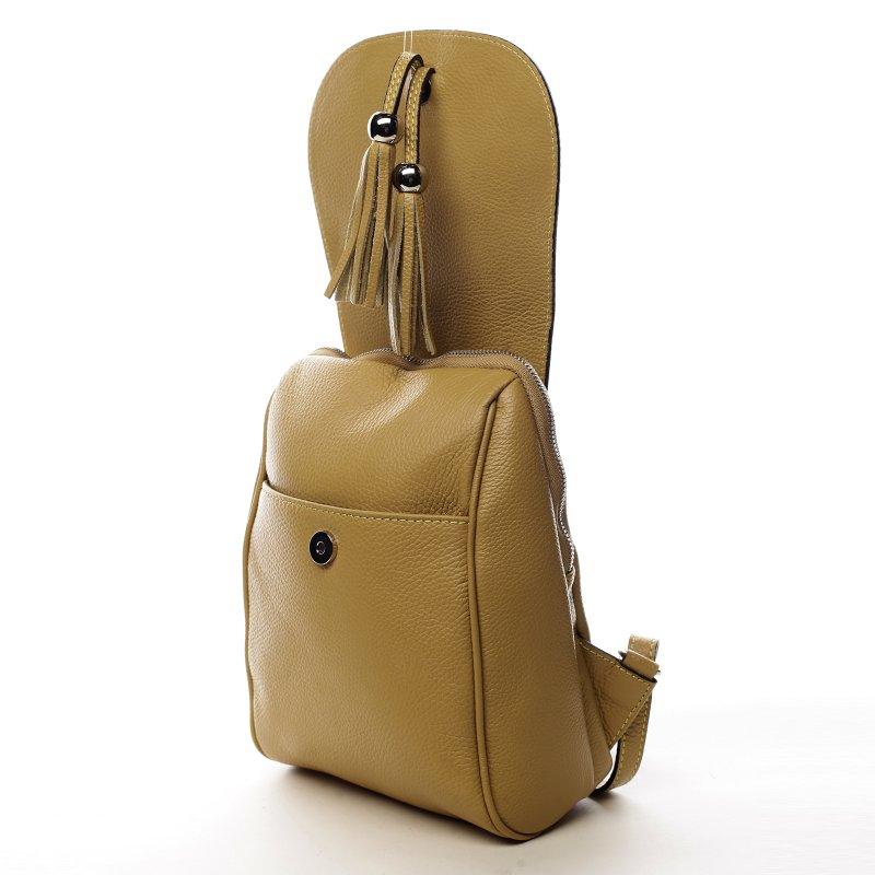 Originální kožený kabelko-baťůžek HELENE, žlutý