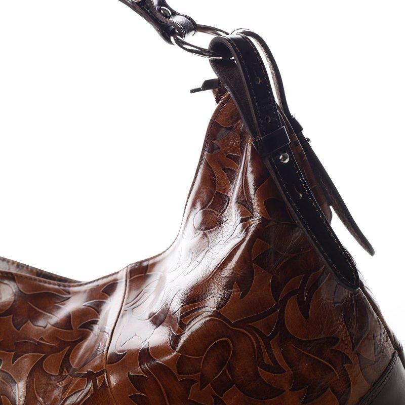 Luxusní dámská kožená kabelka Lena hnědá