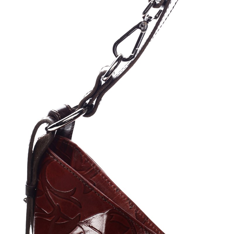 Luxusní dámská kožená kabelka Lena červená