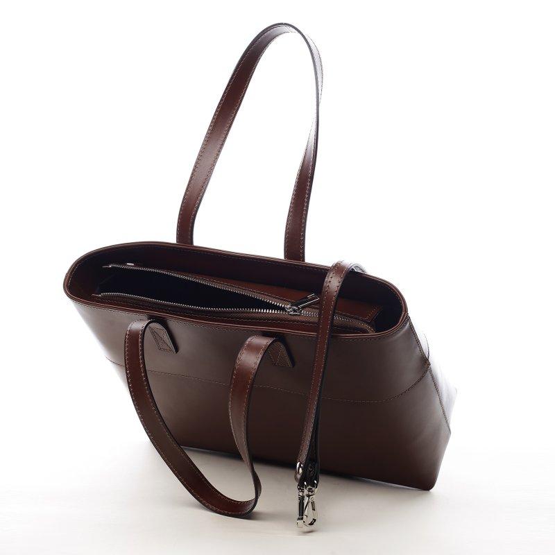 Velká dámská kožená kabelka Vivien hnědá