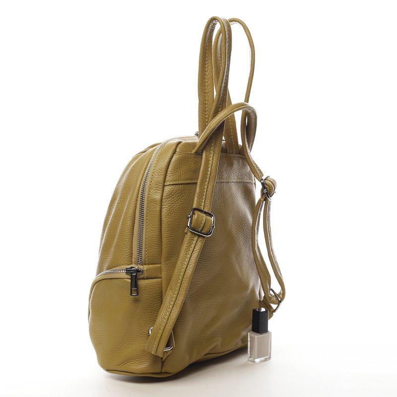 Extravagantní kožený dámský batoh Mustard žlutý