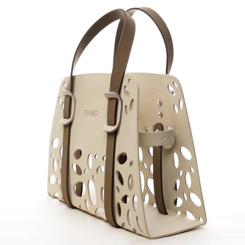 Harmonická dámská italská kabelka Vanessa IOAMO béžová