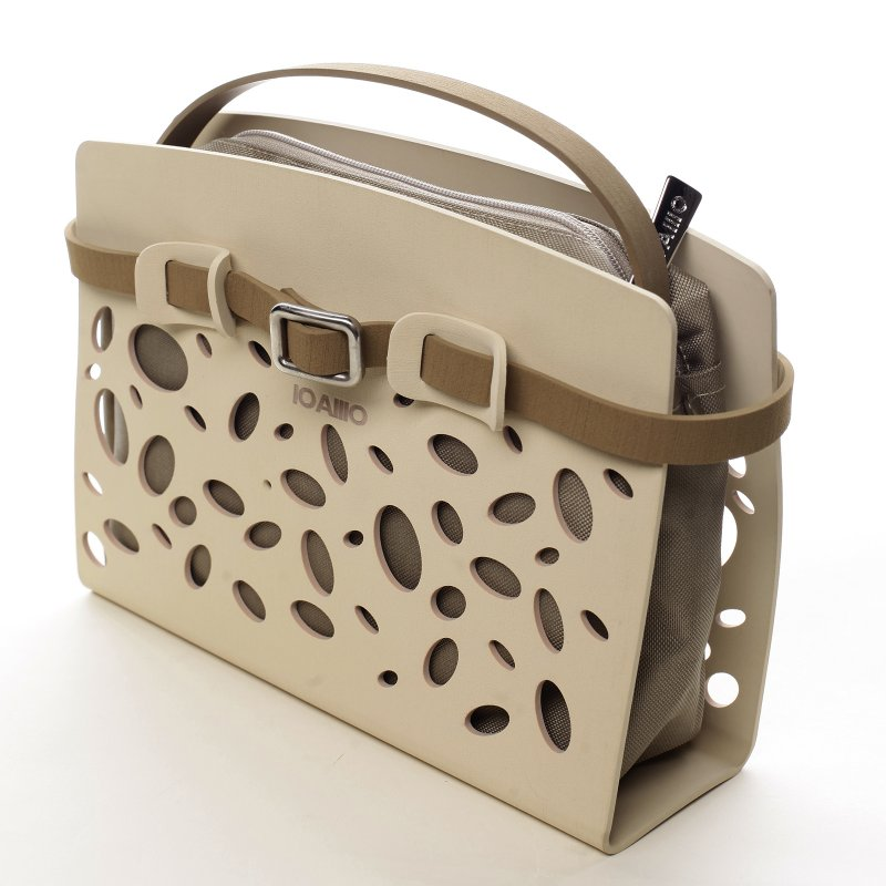 Menší neodolatelná dámská italská kabelka Melody IOAMO béžová