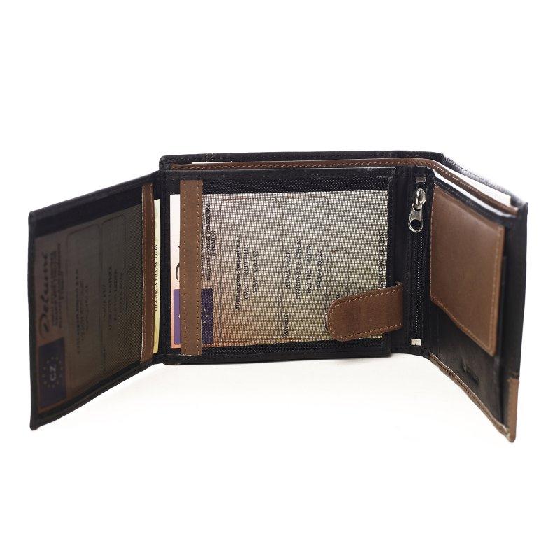 Kombinovaná pánská kožená peněženka Danny černá/hnědá