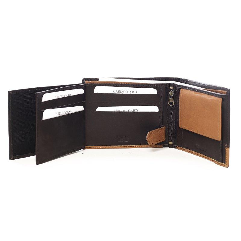 Kombinovaná pánská kožená peněženka Danny černá/koňaková