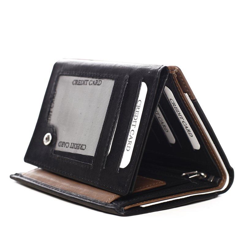 Pánská kombinovaná peněženka na výšku Rhyts černá/hnědá