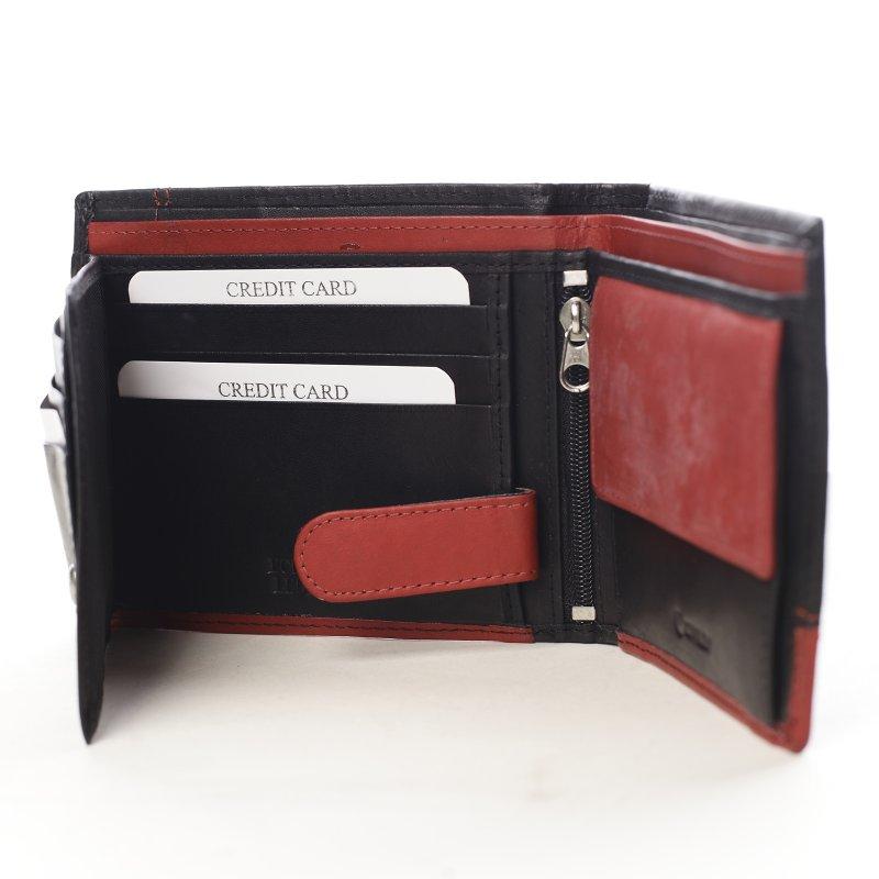 Pánská kombinovaná  kožená peněženka Darren černá/červená