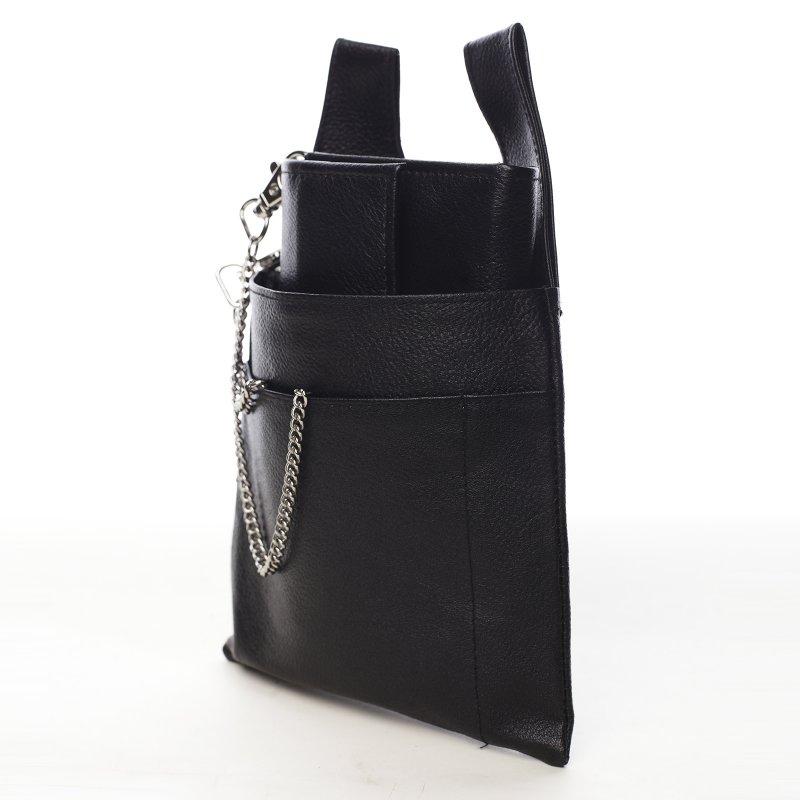 Pánský kožený číšnický flek s taškou na pásek černý