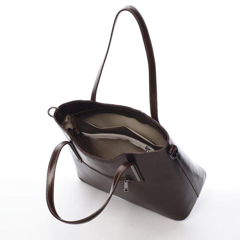 Exkluzivní kožená dámská kabelka Nalda tmavě hnědá