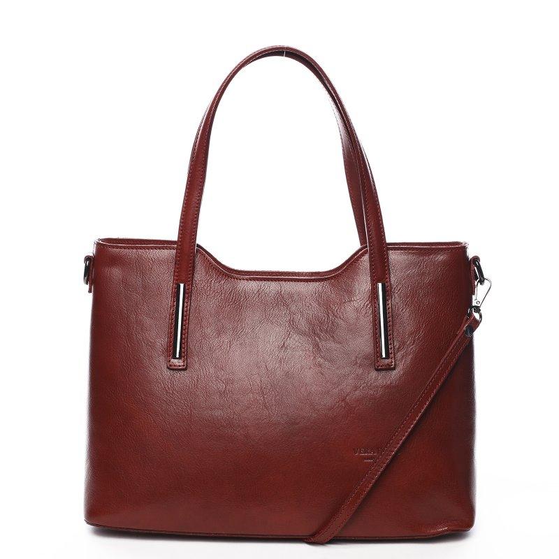 Elegantní kožená dámská kabelka Julie vínová