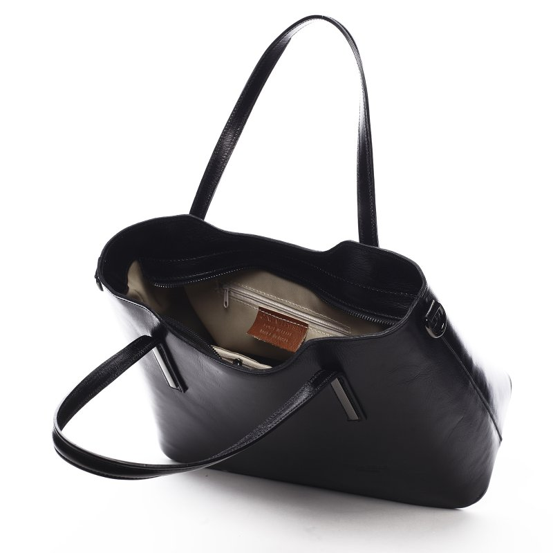 Elegantní dámská kožená kabelka Anne černá