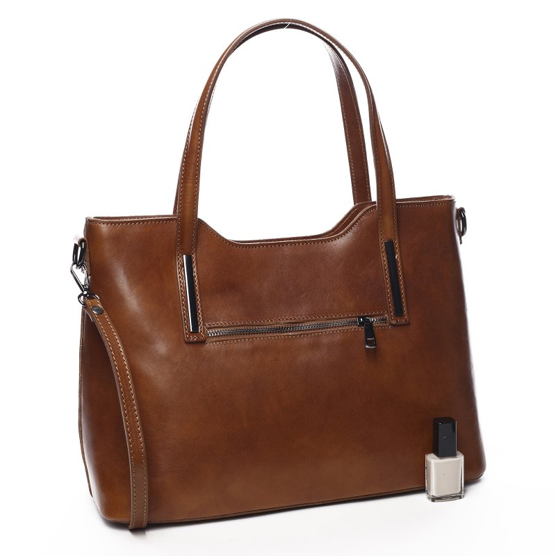 Elegantní dámská kožená kabelka Lena hnědá