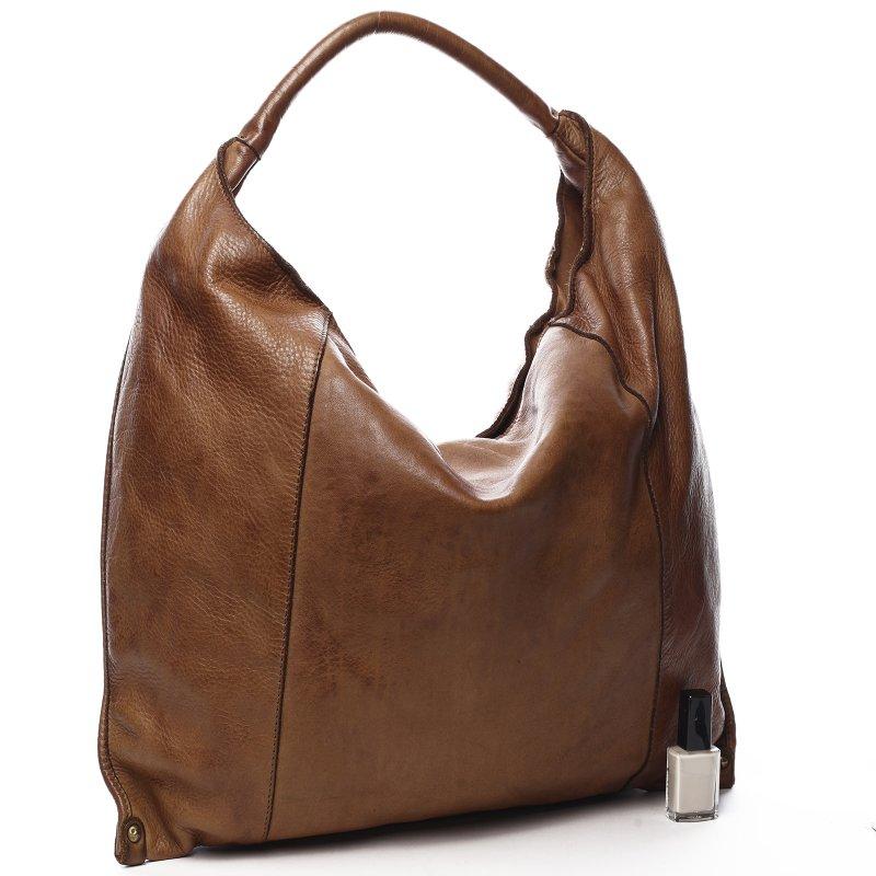 Luxusní kožená dámská kabelka Lucia hnědá