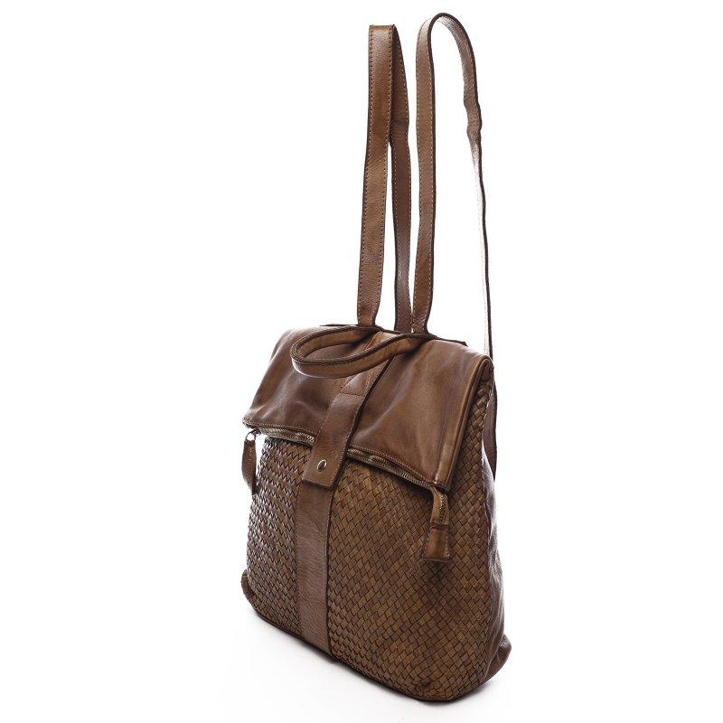 Moderní kožený dámská batoh Indira hnědý