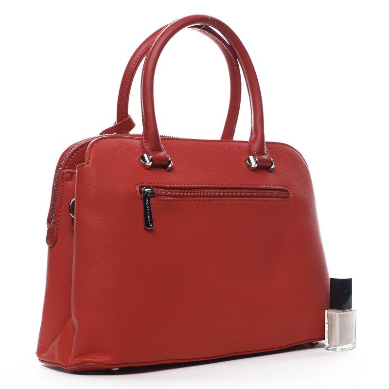 Stylová dámská koženková kabelka v kufříkovém provedení Agnes červená