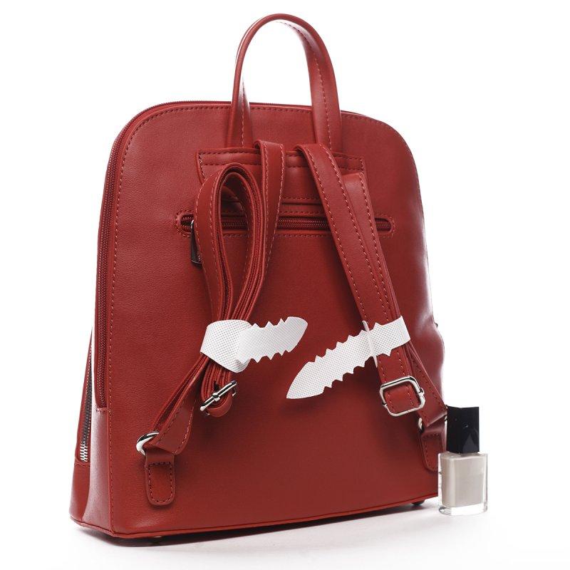 Stylový městský koženkový batůžek Marcelle červená