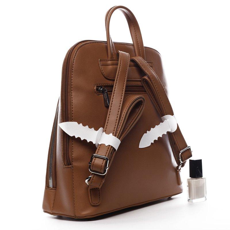 Stylový městský koženkový batůžek Marcelle koňaková