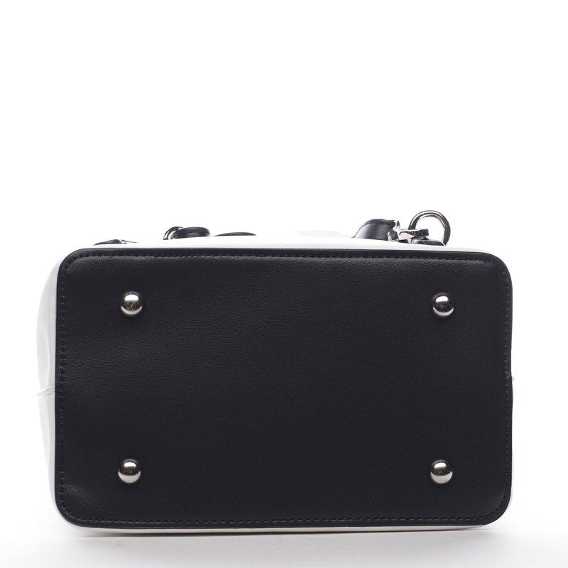 Nepřehlédnutelný elegantní koženkový batůžek Banard bílá/černá
