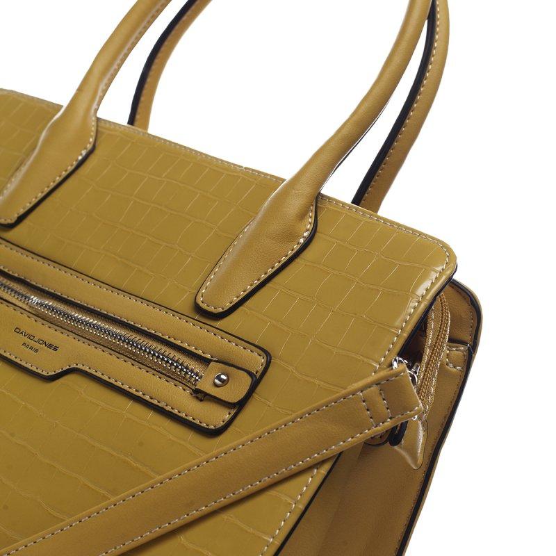 Krásná dámská koženková kabelka v croco provedení Prisca žlutá