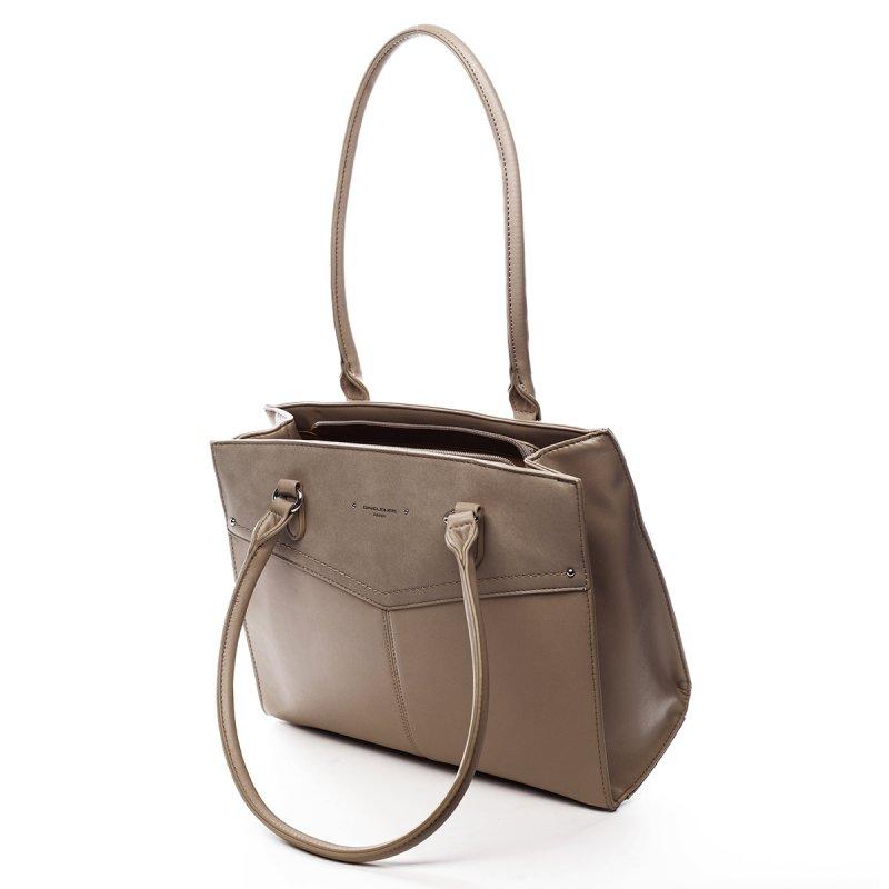 Prostorná dámská koženková kabelka Gaston béžová