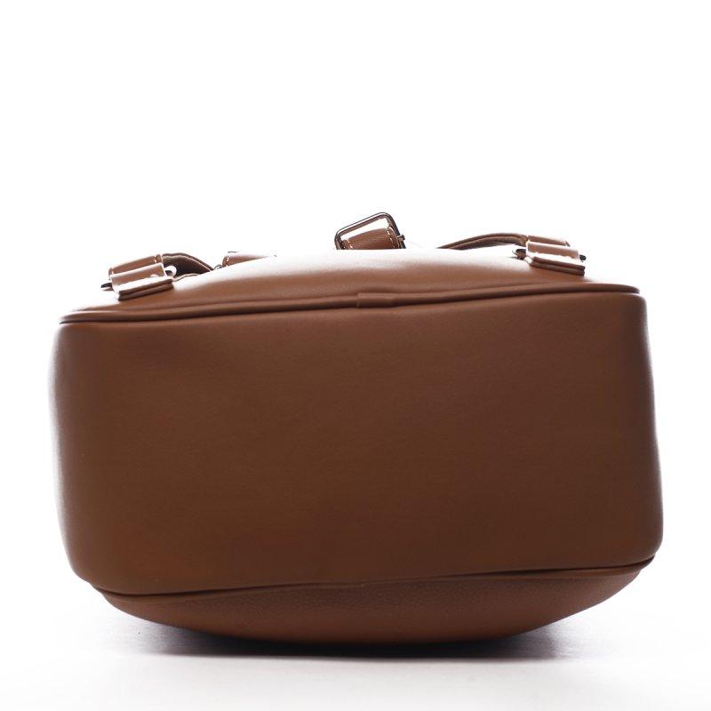 Praktický dámská koženkový batůžek Valentin koňaková