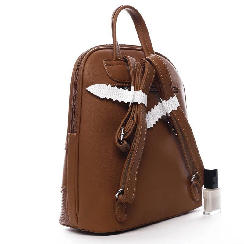 Módní dámský koženkový batoh Félix koňakový