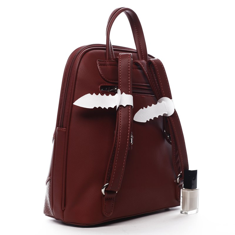 Módní dámský koženkový batoh Félix vínová