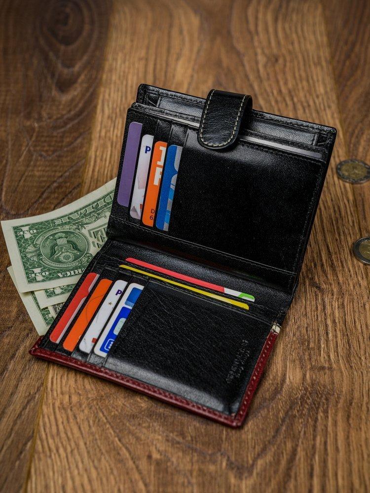 Moderní kožená pánská peněženka RENE, černo-červená