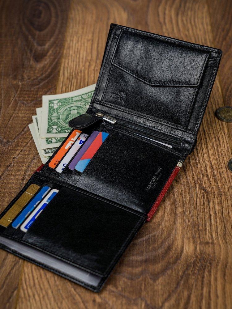 Moderní kožená peněženka JEROME, černo-červená
