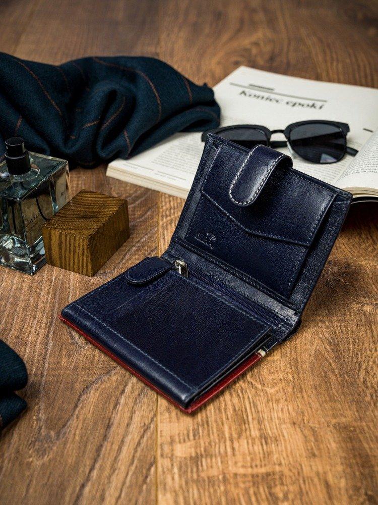 Stylová pánksá kožená peněženka Gustavo, červeno-modrá