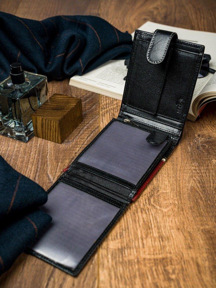 Moderní pánská kožená peněženka JULIEN, černo-červená