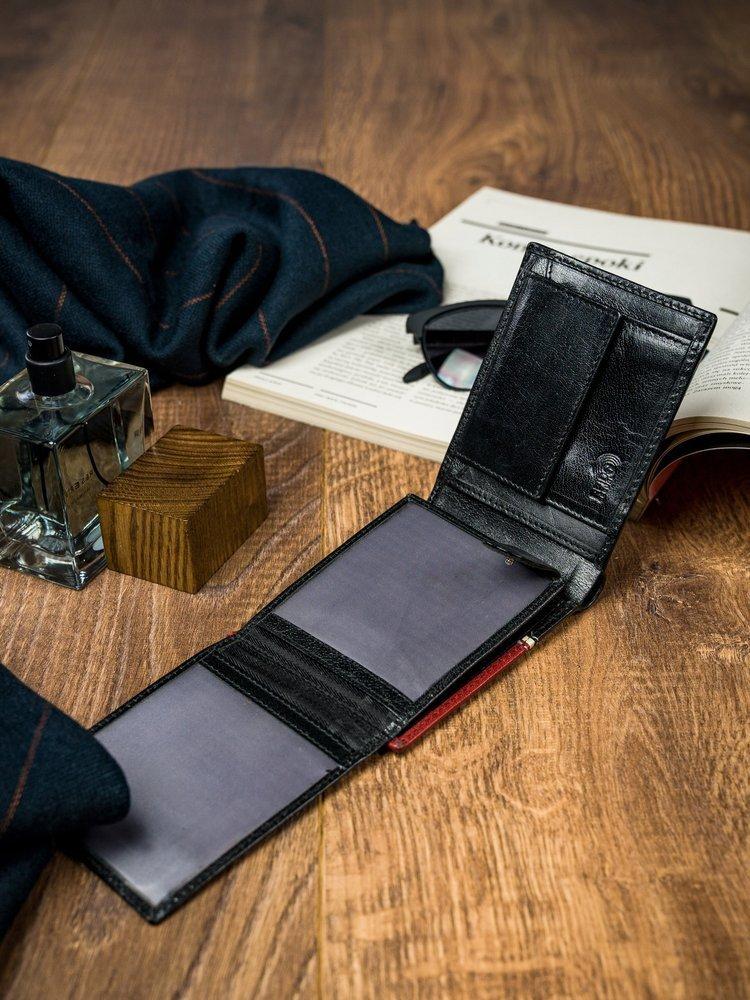Moderní pánská peněženka JACQUES, černo-červená