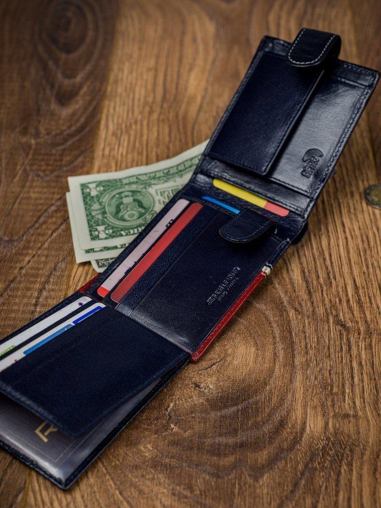 Stylová pánksá kožená peněženka Gabriel, červeno-modrá
